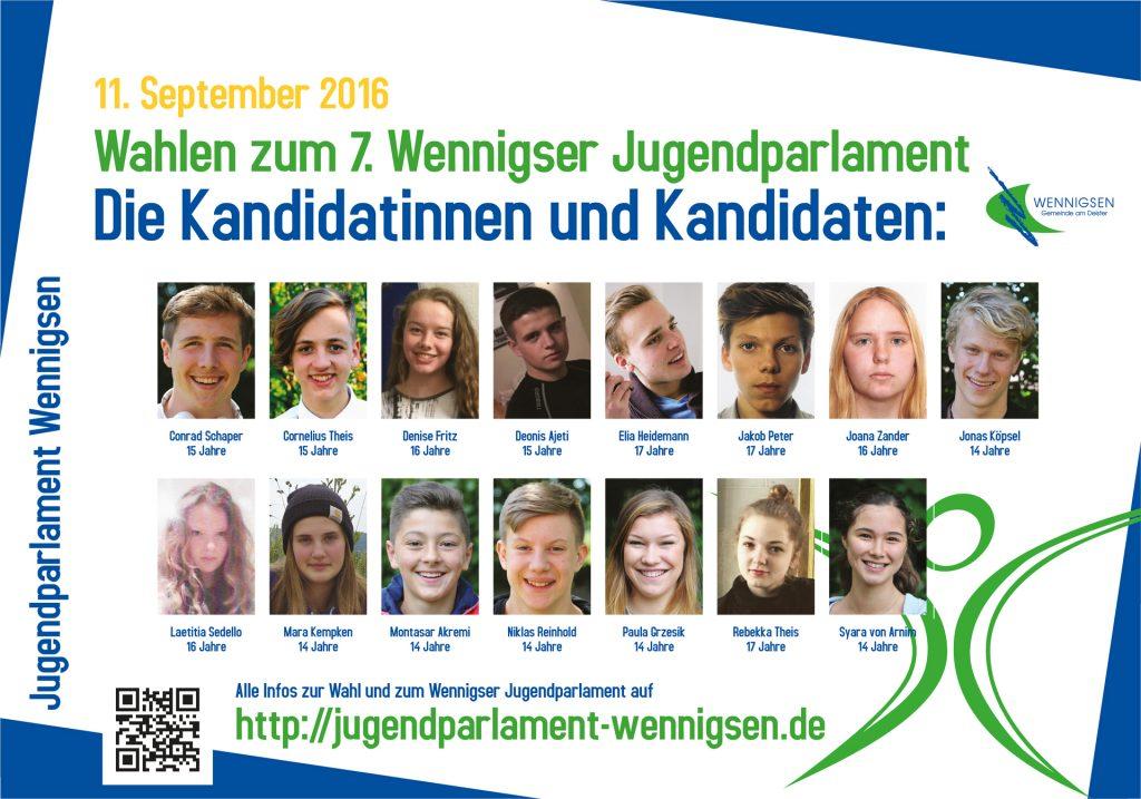 Die Kandidatinnen und Kandidaten zum 7. Wennigser Jugendparlament